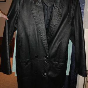 Full length black leather coat